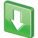 glossy, control, down, green, arrow, download