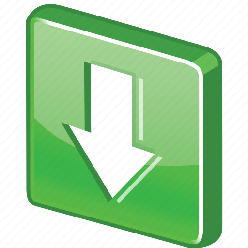arrow, control, down, download, glossy, green icon