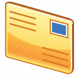 credit, email, glossy, letter, mail, message, payment, post card, postal, postcard icon