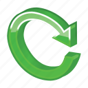 arrow, glossy, green, refresh, reload, renew, update icon