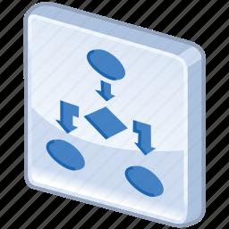 algorithm, block, chart, diagram, flow, flow-block, graphs, plan, program, report, scheme, structure icon