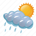 cloud, clouds, cloudy, day, rain, rainy, storm, sun, sunny, weather icon
