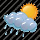 cloud, clouds, cloudy, day, rain, rainy, storm, sun, sunny, weather icon