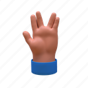 3d, success, peace, greeting, hand, gesture