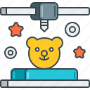 3d, bear, kids, printed, teddy, toy, toys icon