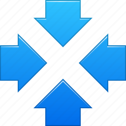 arrows, center, collapse, meeting point, reduce, resize, shrink icon