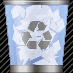 clear, full dustbin, recycle bin, remove, rubbish basket, trash can, trashcan icon