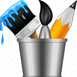brush, bucket, designs, draw, graphic design, paint tools, pencil icon