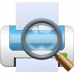 find, print preview, printer, printing, search, view, zoom icon