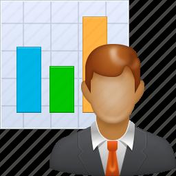 analysis, business man, graph, marketer, marketing, sales chart, seo icon