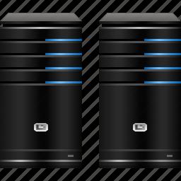cloud, data center, database server, hardware, hosting service, servers, system icon
