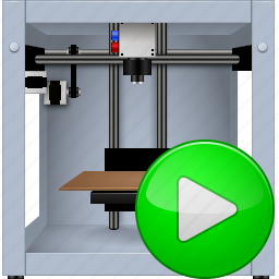 3d printing, 3dprinter, go, print, printer, proceed, start button icon