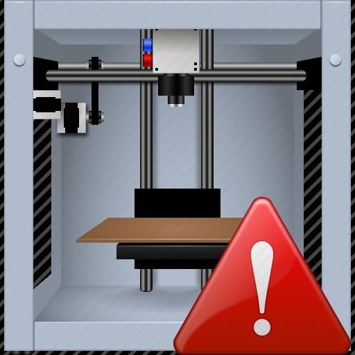 3d printing, 3dprinter, danger, print, printer, problem, warning icon