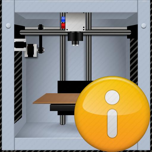 3d printing, 3dprinter, equipment, info, print, printer, status button icon