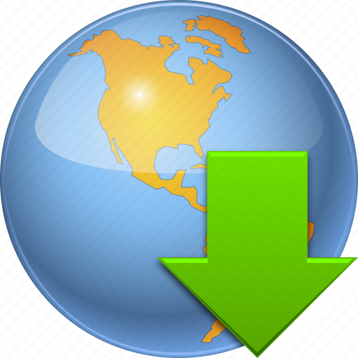 arrow, download, downloads, earth, globe, load, world icon