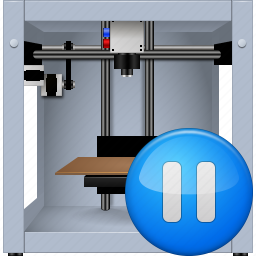 3d printing, additive technology, equipment, pause button, pausing, print, printer icon