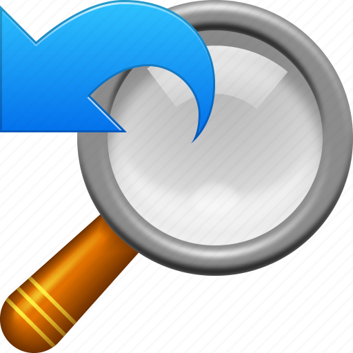 find, magnifying glass, prevous tool, search, undo, view, zoom icon
