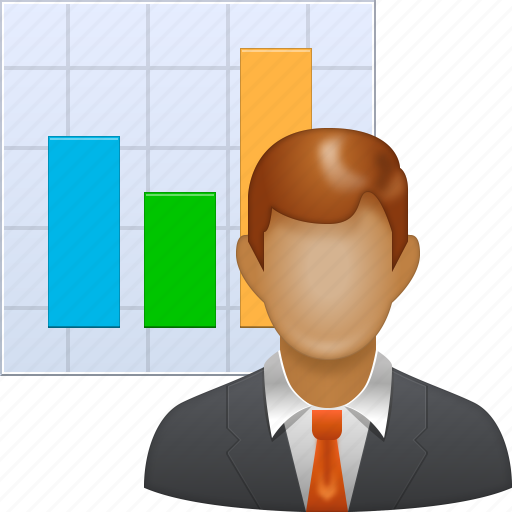 analysis, business man, graph, marketer, marketing, sales chart, seo icon