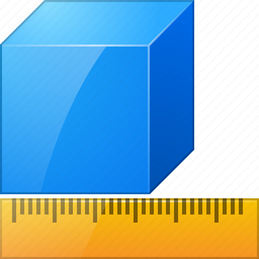 box, cube, measure, measurement, meter, ruler, units icon