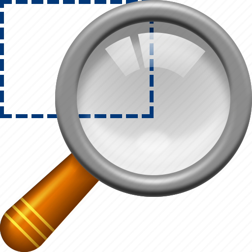 look, magnifier tool, magnifying glass, rectangle, select area, view, zoom icon