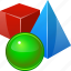 3d objects, cube, model, object, pyramide, reality, sphere icon