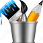 brush, bucket, designs, draw, graphic design, paint tools, pencil