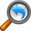 back, left, magnifying glass, previous, search, view, zoom icon