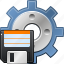 config, control, disk, diskette, floppy, gear, save configuration icon