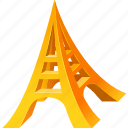 eiffel, gold, model, tower icon