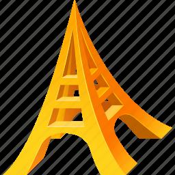 eiffel, gold, model, tower icon