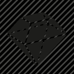 diamond, figure, geometry, shape, solid figure, three-dimensional figure icon