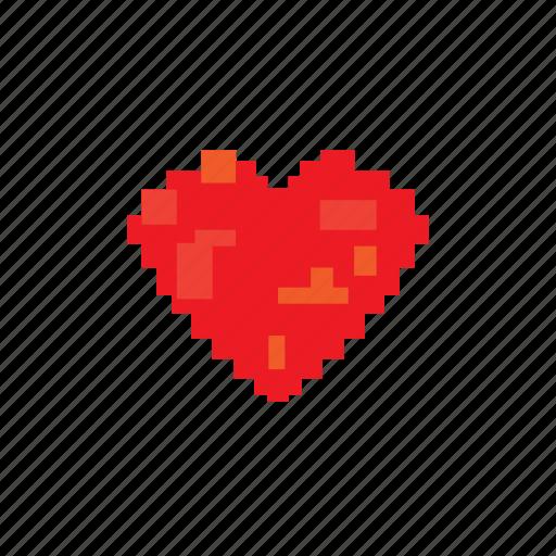 digital, heart, love, pixelated, valentine icon