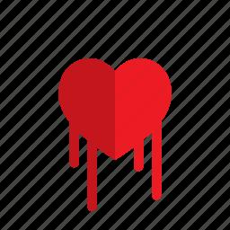 bleed, broken, heart, love, valentine icon