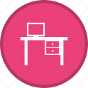 desk, office, table, work space, workplace icon