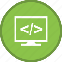 code, coding, html, lcd, screen, web icon
