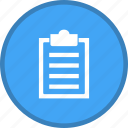 clipboard, document, file, list, paper, report icon