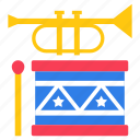 buggle, drum, drum and trumpet, musical instruments, trumpet, wind instrument icon