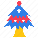 christmas tree, decorated tree, fancy tree, snow tree, star tree icon