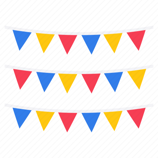 banner flags, celebration flag, garlands, independence day decor, star banners icon