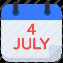 4th july calendar, reminder, schedule, almanac, planner