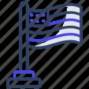 us flag, flagpole, national flag, streamer, pennant icon