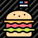 america, celebration, day, hamburger, independence icon