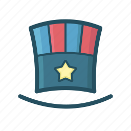 fourth of july, hat, independence day, july, party hat, top, top hat icon