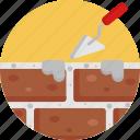 construction, building, cement, bricks, trowel icon