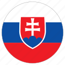 circular, country, flag, slovakia, world icon