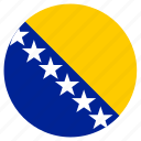bosnia and herzegovina, circular, country, flag, world icon