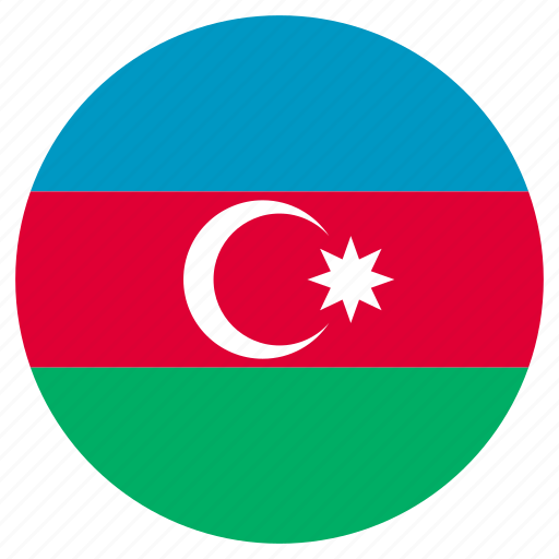 azerbaijan, circular, country, flag, world icon