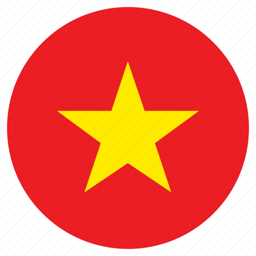 circular, country, flag, vietnam, world icon