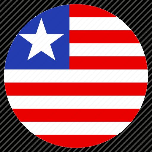 circular, country, flag, liberia, world icon
