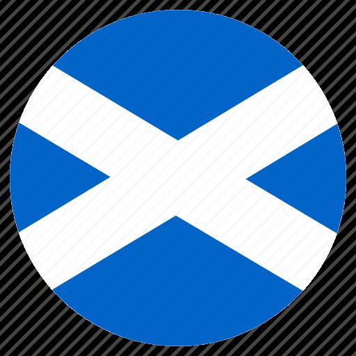 circular, country, flag, skottish, world icon